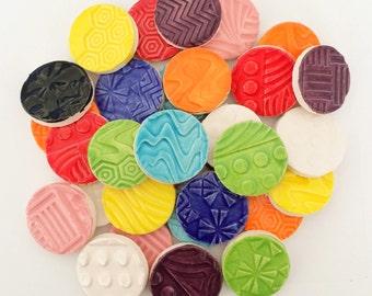 "Mosaic Tiles - 1"" Multi Colored Circle Tiles"