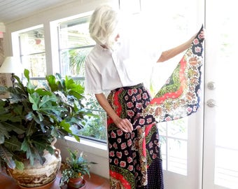 Vintage Dani Lewis maxi skirt with matching scarf paisley tiny stars: medium