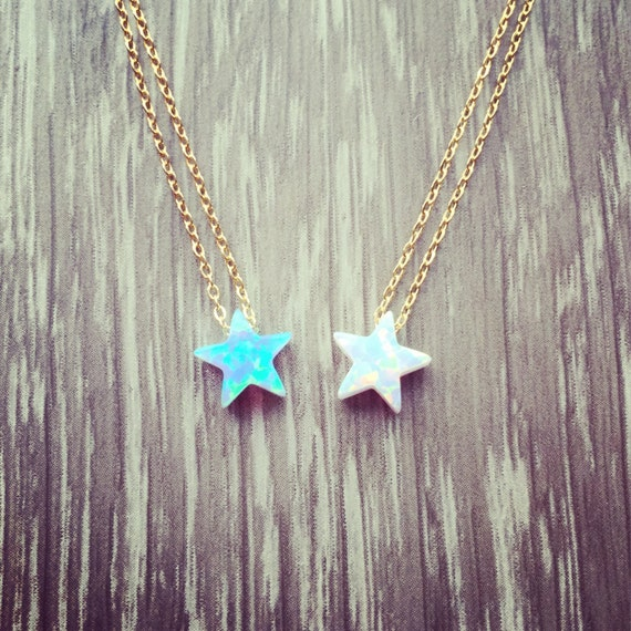 New 925 sterling silver necklace with Opal star pendant