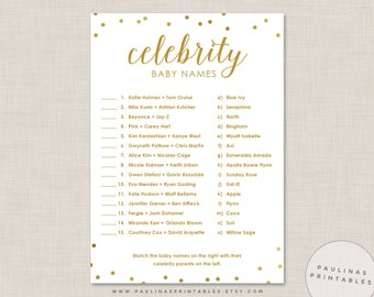 Celebrity Baby Name Game, Pink and Gold Shower Game, Baby Shower Games, Gold Dots, Gold Baby Shower, Celebrity Baby Names, Gold Glitter