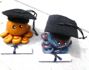 Custom Little Graduation Octopus Choose Yours Up to Three  Swirling Colors or Solid Color