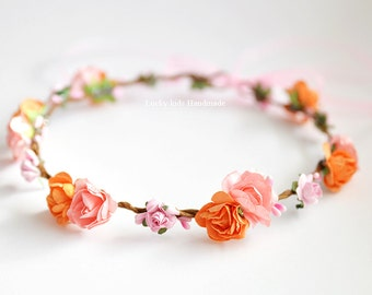 Peach flower crown, Floral crown, Flower girl wreath, Flower crown wedding, Flower girl, Peach Orange Hair wreath, Flower girl Boho crown