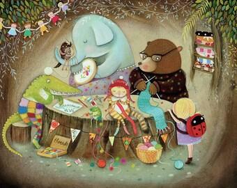 The Craft Club - Giclee Print - Whimsical Artwork - Children's Artwork - Nursery Print