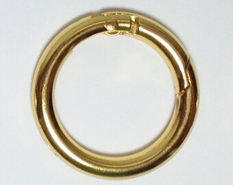 2 Gold Plated Gate Spring O-Ring 1 inch Round Push Snap Hooks for Purses and Handbags