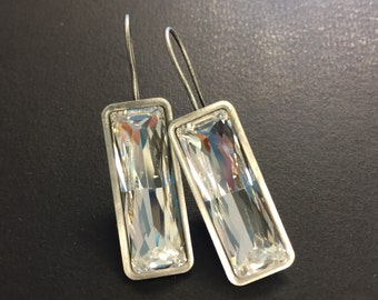 Antique Silver and Clear Swarovski Crystal Baguette Earrings