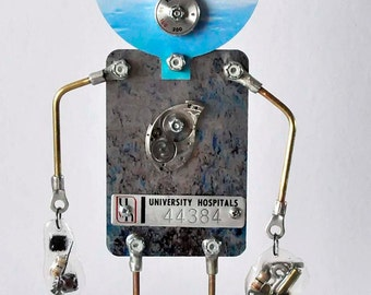Doctor or Nurse Robot for medical hospital professional surgeon staff steampunk sculpture one of a kind artist mixed media