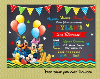 Mickey Mouse Clubhouse Invitation Birthday - Mickey Mouse Clubhouse Party - Mickey Mouse Invitations