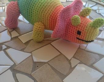 Triceratops Plushie, Triceratops Stuffie, Dinosaur Stuffed Animal, Rainbow Dinosaur, Dinosaur Toy, Triceratops Toy, PinkToy, Yellow Toy