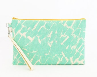 "Oversize Zipper Clutch, Ladyelliephant for JANA LAM - 15% OFF - One of a Kind ""Whitewash"" Print - Made in Hawaii by Jana Lam"