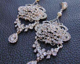 Large and long dangle statement bridal chandelier earrings - Chelsea