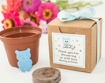 Baby Owl Baby Shower Favor Mini Flower Garden Gift Set - Personalized Plantable Seed Paper Owl for Boy, Girl & Gender Neutral Baby Showers