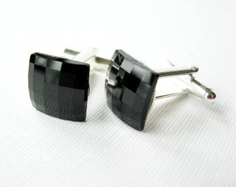 Jet Black Swarovski Chessboard Cufflinks - Formal Accessories the Groom or Special Occasion on Silver Plated base