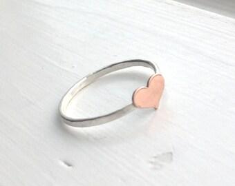 Heart Ring, Small Heart Ring, Tiny Heart Ring, Sterling Silver Heart Ring, Copper Heart Ring, Stacking Ring, Sterling Silver Stacking Rings