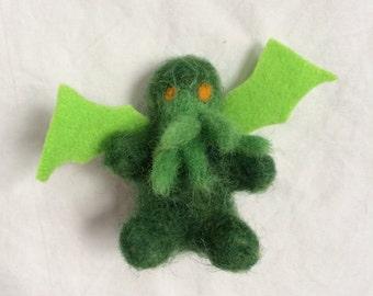 Tiny Miniature Felted Cthulhu Ornament