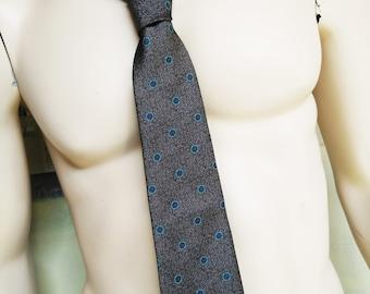 Vintage Givenchy Necktie. Vintage Menswear. Vintage Tie. Vintage Mens Accesories. Beat Generation. Vintage 1970s. Polyester Tie. Grey. Aqua
