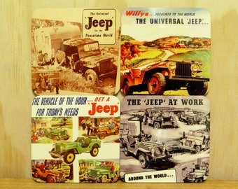 Set of 4 coasters - 95mm Square MDF - Willys Jeep