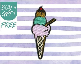 Ice Cream Patches Sweet Patches Iron On Patch Embroidered Patch Ice Cream Cone Summer