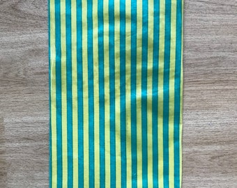 LARGE Reusable Cotton Beeswax Food Wrap Yellow Green Stripe Stripey Circus Bright 30cm x 30cm Zero Waste
