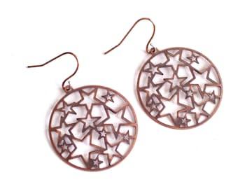 Large Copper Star Earrings, Antiqued Copper Star Earrings, Copper Cutout Stars Pierced Dangle Earrings, Celestial Jewelry, Copper Jewelry