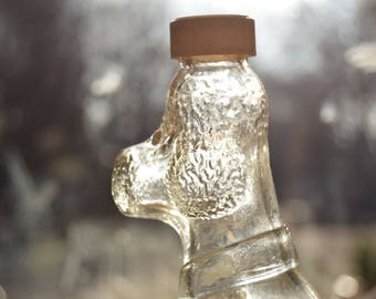 Old syrup bottle / glass poodle dog / decor kitchen, bathroom / 60s
