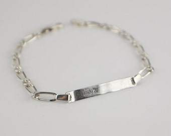 Narrow Flat Link 925 Silver ID Bracelet with Lobster Clasp