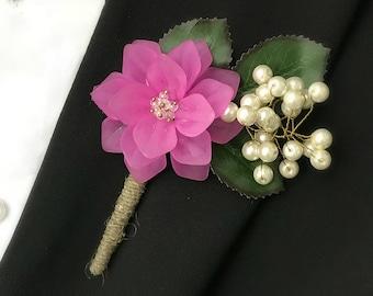 Fuchsia Wedding Boutonnieres, Pearl Flower Boutonniere, Lapel Pin Boutonnieres, Country Boutonniere, Rustic Boutonniere, Natural Boutonniere