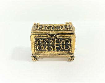 Dollhouse Miniature Tiny Gold Metal Treasure or Jewelry Box with Opening Lid 1:12 Scale