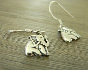 Sterling Silver Elephant Earrings Dangle Earrings Sitting Elephant 11.5x8mm