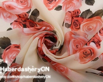 1 Meter Chiffon Fabric CH10-3 - Wonderful Sweet Roses Design