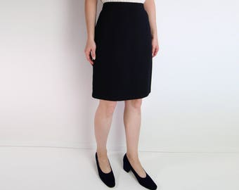 VINTAGE St John Knit Black Skirt Pencil Skirt Knee Length Medium