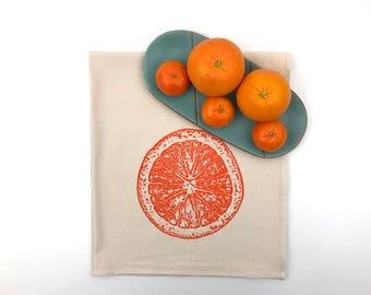 Natural Flour Sack Tea Towel - Orange Slice - Hand Screen Printed