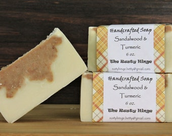 Sandalwood and Turmeric Handmade, homemade handcrafted, natural cold processed soap