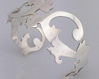 Sterling Silver Scroll Cuff