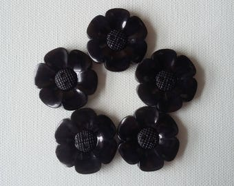 SALE Lot of 5 Flower Buttons - 40mm-  Black WAS 5.00 NOW 4.00