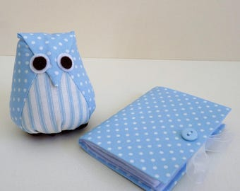 Owl Pincushion and Needlecase in light blue