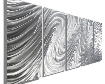 Large Silver Contemporary Abstract Metal Wall Decor, Decorative Modern Metal Wall Art, Multi Panel Set of 5 - Hypnotic Sands 5P by Jon allen