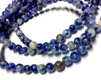4mm Sodalite Gemstone Beads - 15.5inch Full strand - Round Gemstone Beads