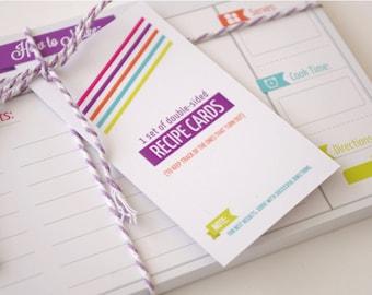Recipe Cards - set of 20 Bold Modern / Retro design - Gift for Mom