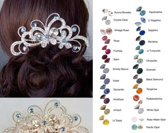 Choose Your Accent Colour -- Large Fancy Cut Crystal Rhinestone Butterfly Hair Comb, Wedding, Bridal (Sparkle-2784)