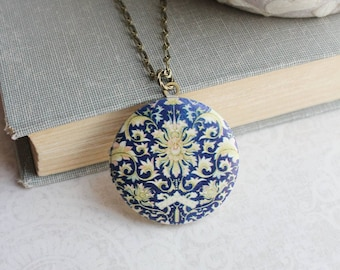 Photo locket etsy photo locket necklace blue floral pendant navy and yellow picture locket keepsake mozeypictures Image collections