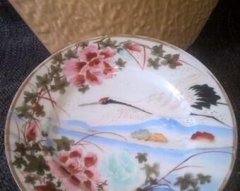 Japanese Kutani Plate, Crane or Stork, Early 1900s, Hand-painted Vintage Plate