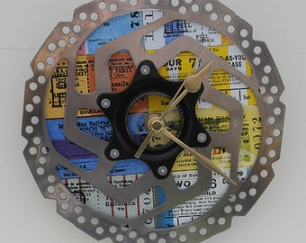 Bike clock Cycle clock Disc clock Gift Tickets Ticket stub clock