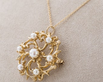Vintage 14k Gold and Pearl Pin Pendant