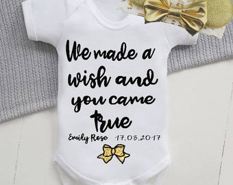 Personalised we made a wish and you came true vest/new baby gift ,coming home outfit,glitter bows,perfect baby shower gift