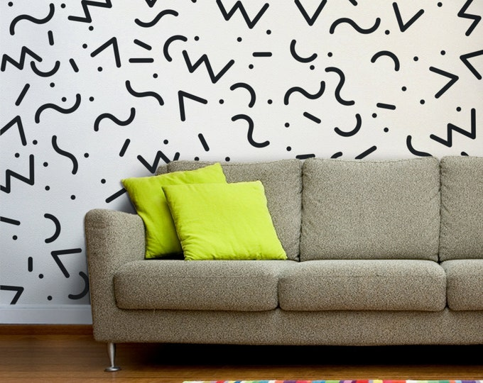 memphis group wall decals, 80s retro vinyl stickers, vintage eighties, retro art, 80's art and design