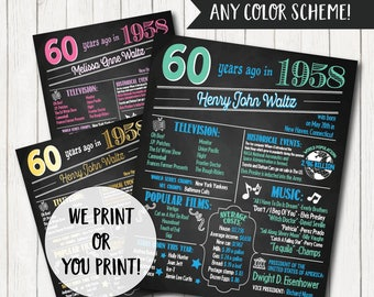 60th Birthday Poster - Back in 1958, 60th Birthday Chalkboard, 60th Birthday Banner, 60th Birthday Gift, 60th Birthday Sign