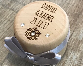 Engraved personalised wooden wedding ring box with satin ribbon snowflake winter wedding Austrian crystal