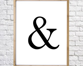 Ampersand poster, typography print, digital print, instant download, minimal art, printable art, wall decor
