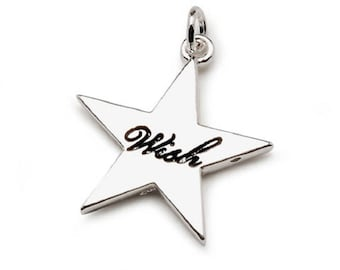 Charm - Wish - Star - Bright Silver Plated - 25mm (dar19991473)