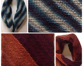 Easy knit pattern for scarf and cowl using gradient yarns